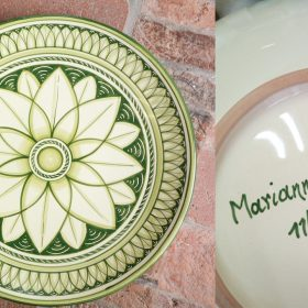 ceramica personalizzata con dedica, custom ceramic with inscription
