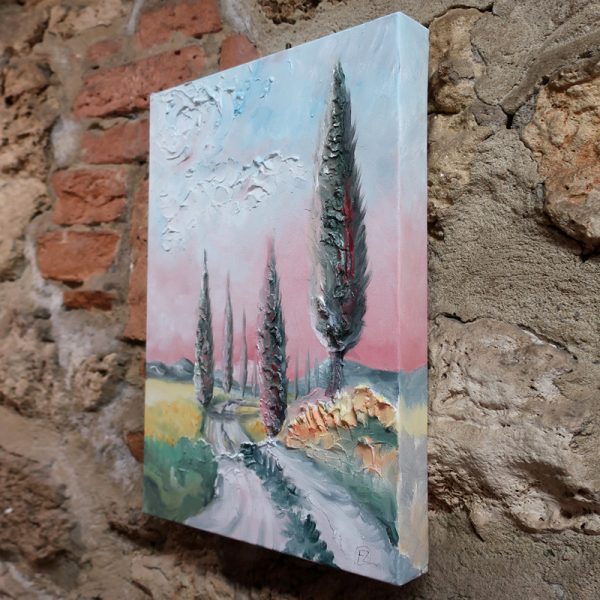 cipressi toscana olio su tela sarteano, cypress tuscany oil on canvas