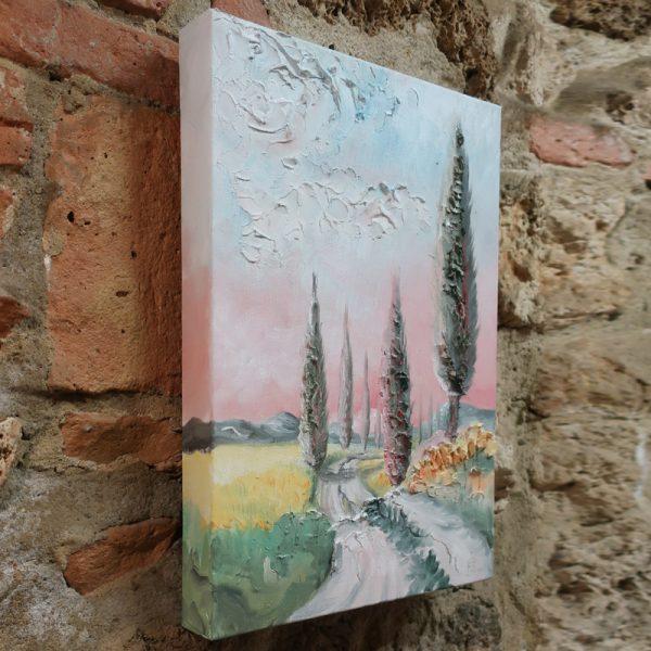 cipressi toscana olio su tela sarteano, cypress tuscany painting oil on canvas sarteano