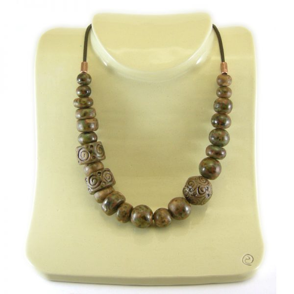 collana ceramica stile etrusco, ceramic necklace etruscan style