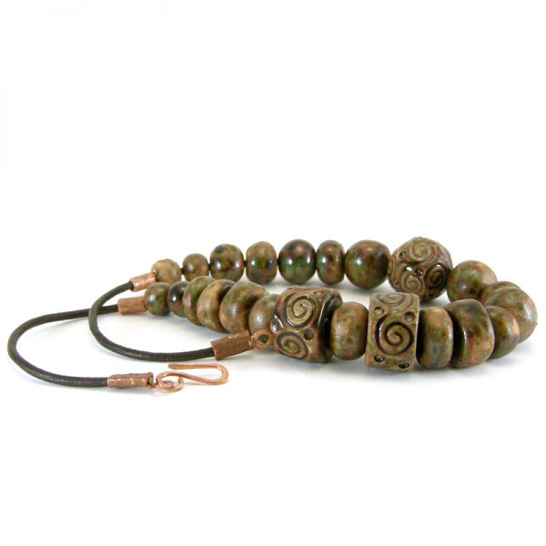 collana in ceramica color terra, pottery necklace earth color