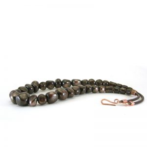 collana in ceramica marrone e rame, brown and copper necklace in ceramic