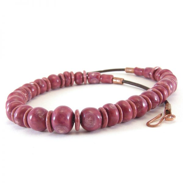 collana in ceramica rosso vino, ceramic necklace wine color