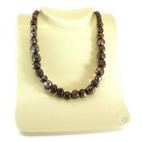 collana lunga in ceramica marrone, long ceramic necklace in brown color