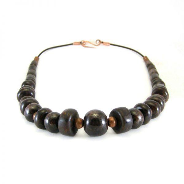 collana marrone con rame, brown necklace with coper