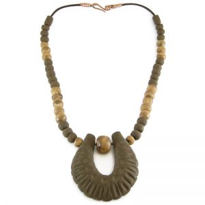 collana marrone in ceramica stile etrusco, brown necklace in pottery etruscan style