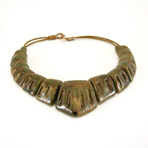 collana scultura marrone, brown sculpture necklace
