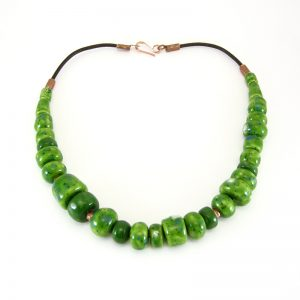 collana verde ceramiche di toscana, green necklace tuscany ceramics