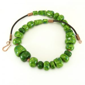 collana verde in ceramica, green ceramic necklace