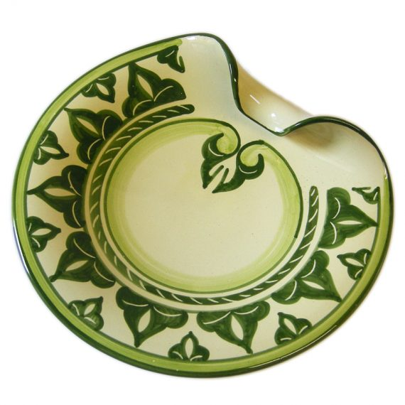 Ceramic centrepiece handpainted in green color, small size diameter 20 cm.