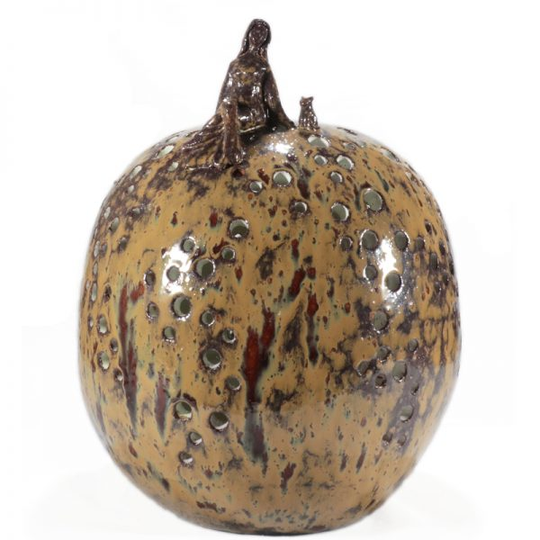 donna e gatto lampada a sfera in ceramica, woman and cat ball table lamp in pottery