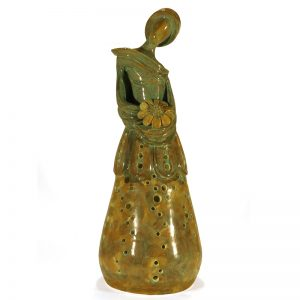donna in ceramica lampada scultura, woman in ceramic sculpture table lamp