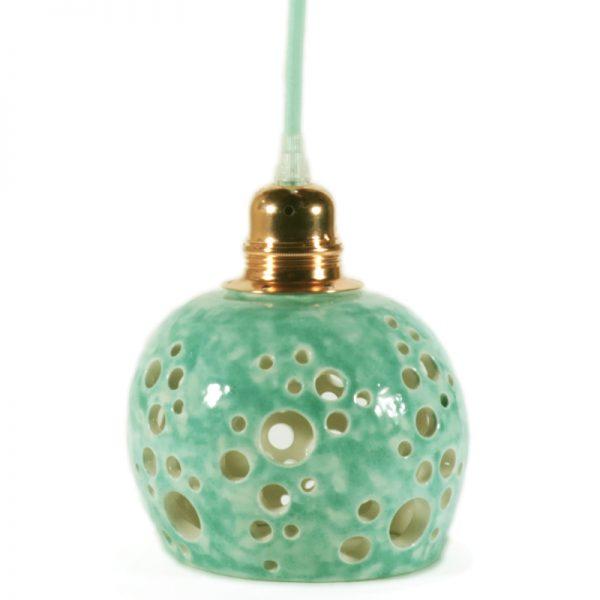 faretto turchese a sospensione traforato in ceramica, carved pendant lamp in ceramic