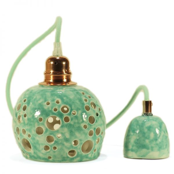 faretto a sospensione traforato in ceramica, carved pendant lamp in ceramic