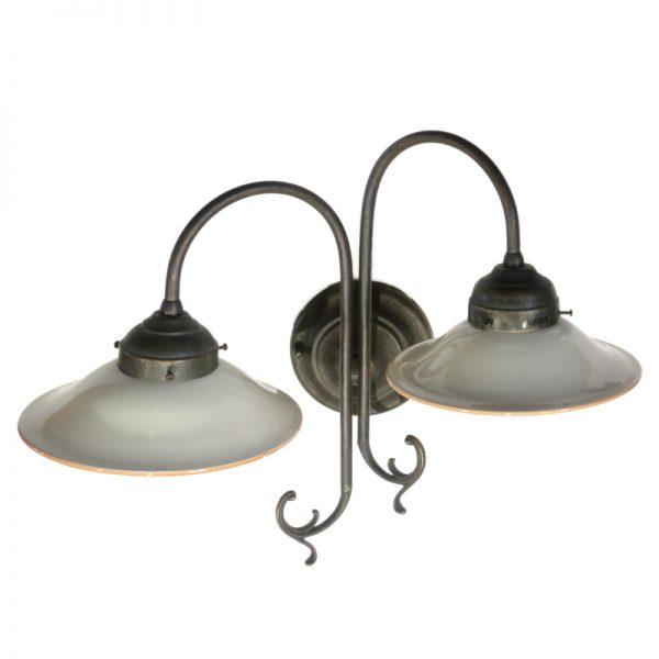 faretto doppio con piatti in ceramica, wall light with handmade ceramic plates