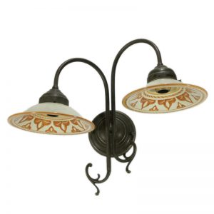 faretto due luci in ceramica, double wall light with handmade ceramic plates