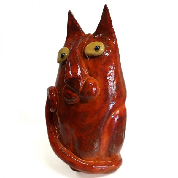 gatto leone in ceramica arte toscana, ceramic cat tuscany art