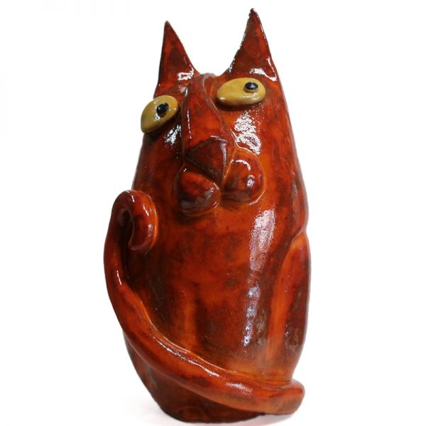 gatto rosso arte ceramica toscana, red cat tuscany ceramic art