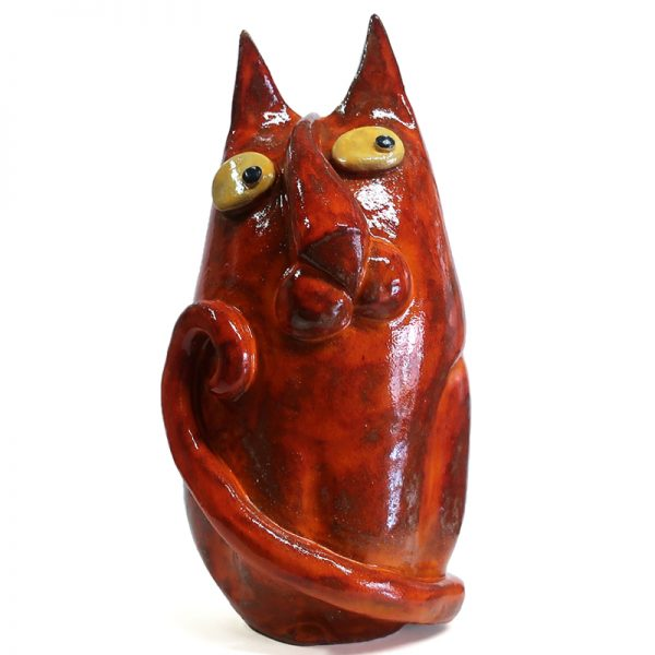 gatto rosso ceramiche il volo, red cat sarteano