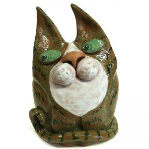 gatto scultura in ceramica verde artigianato sarteano, cat ceramic sculpture green handmade sarteano