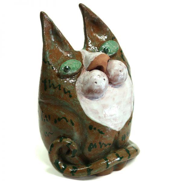 gatto scultura in ceramica verde artigianato toscana, cat ceramic sculpture green handmade in tuscany
