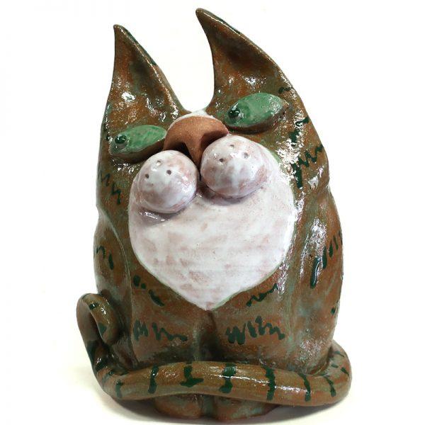 gatto terracotta colorato artigianato, colorful cat handmade in italy
