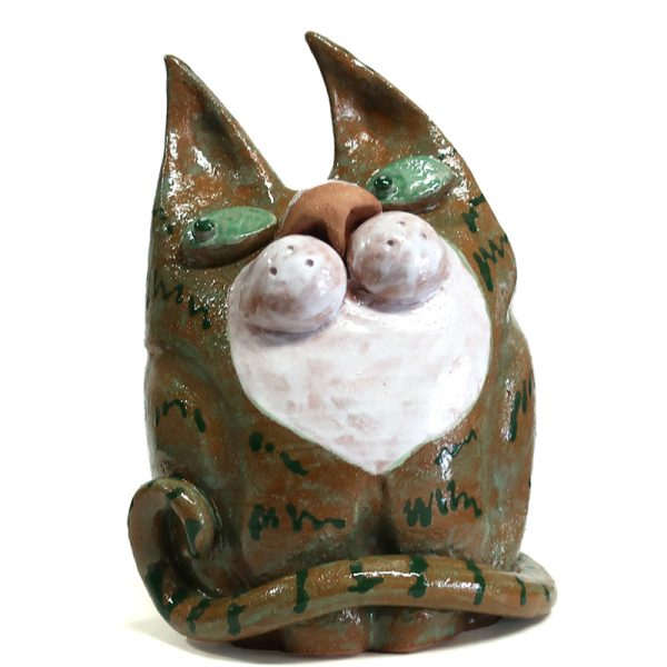 gatto verde in ceramica statua, green cat in pottery statue