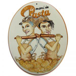 insegna ceramica negozio pasta fresca caricatura dipinta a mano, ceramic tile hand painted caricature cartoon style for job