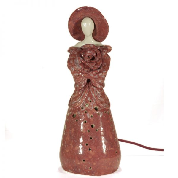 lampada arte donna con rosa in ceramica, table lamp artistic woman with rose in ceramic