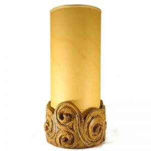 lampada ceramica paralume pergamena artigianato toscana, sculpture table lamp with spirals handmade in tuscany