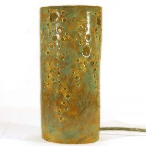 lampada ceramica traforata cilindro, carved ceramic lamp handmade in italy