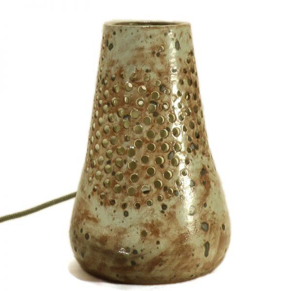 lampada cerchi traforati ceramica artistica artigianato toscana, carved table lamp in ceramic handmade in tuscany