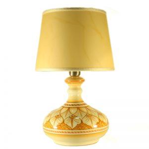 lampada comodino in ceramica dipinta a mano in toscana arancio terra di siena, ceramic bedside lamp handpainted in tuscany