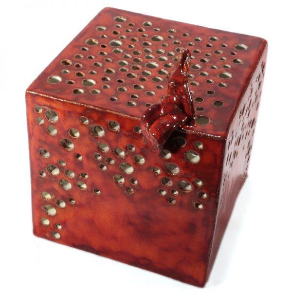 lampada cubo con donna ceramica artistica toscana, cube lamp with woman tuscany ceramic art