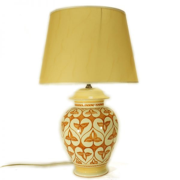 lampada da tavolo ceramica dipinta a mano arancio terra di siena, table lamp in ceramic handpainted orange burnt sienna decoration