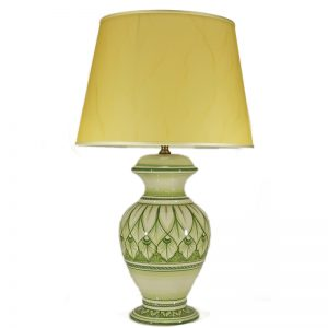 lampada da tavolo verde in ceramica dipinta a mano, green table lamp in ceramic handpainted