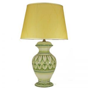 lampada da tavolo verde in ceramica dipinta a mano, green table lamp in ceramic handpainted