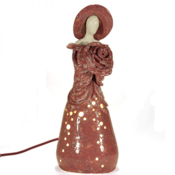 lampada donna arte ceramica toscana, table lamp woman tuscany ceramic art