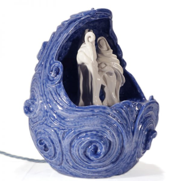 lampada presepio bianco e blu in ceramica, crib table lamp white and blue in ceramic