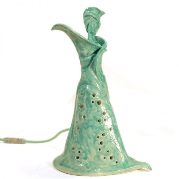 lampada scultura ceramica calla turchese donna fiore, table lamp in ceramic turquoise calla lily woman flower