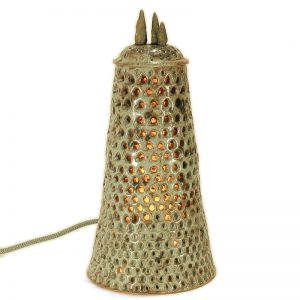 lampada scultura in ceramica arte toscana, sculpture table lamp in ceramic art of tuscany