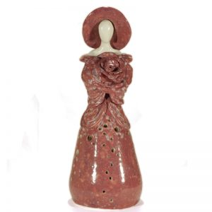 lampada scultura in ceramica rosa, rose table lamp in ceramic