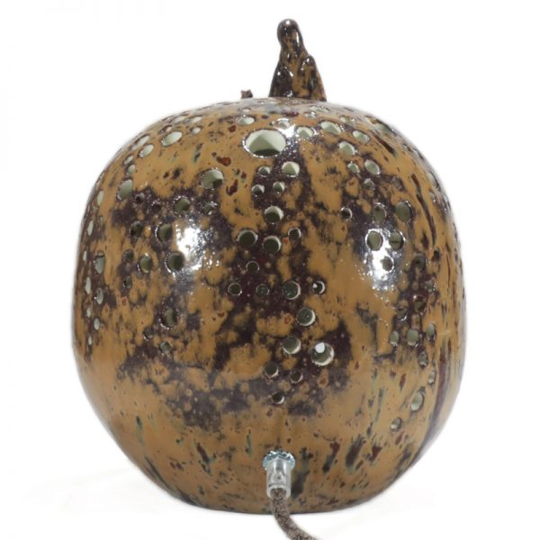 lampada sfera in ceramica artigianato italiano, ball table lamp in ceramic italian handcrafted