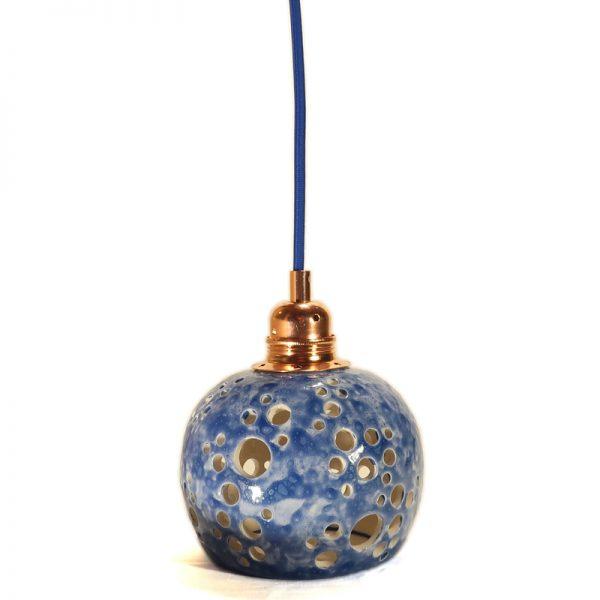 lampadario blu traforato ceramiche artistiche artigianato toscana, blue chandelier in ceramic hand made