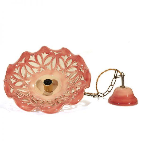 lampadario in ceramica rosso bordeaux fatto a mano, red pendant lamp in ceramic burgundy made in italy