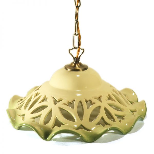 lampadario intagliato verde in ceramica dipinto a mano, carved pendant lamp in ceramic handpainted green color