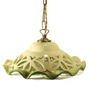 lampadario verde intagliato ceramica toscana artigianato, green carved pendant lamp in ceramic made in tuscany