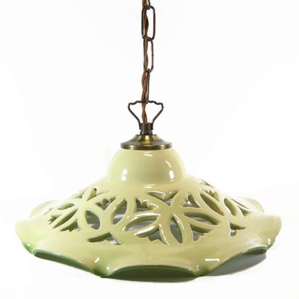 lampadario verde ceramica, green pendant lamp in ceramic
