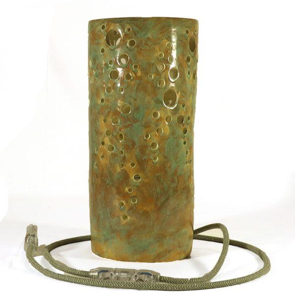 lume ceramica fatto a meno con motivo traforato, ceramic home light handmade lamp