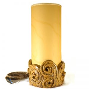 lume in ceramica con spirali artigianato toscana, sculpture table lamp with spirals handmade in tuscany